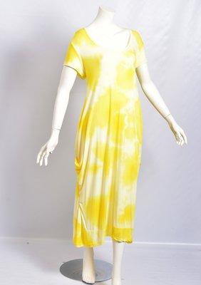 .Myrjo Leuke stoere aparte gele jurk met tie&day print,plooien ,super model