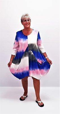Tuniek/ jurk roze blauw tie&day, Naveed, ballonmodel