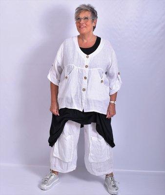 Blouse/jasje kort, wit, linnen, met knoopsluiting,v-hals, 7/8 mouw,
