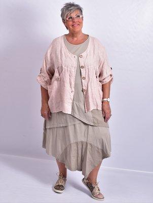 Blouse/jasje kort, oud roze, linnen, met knoopsluiting,v-hals, 7/8 mouw,