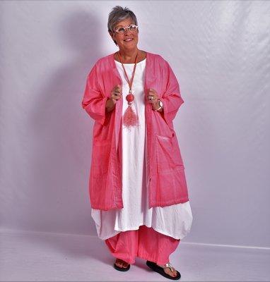 Blouse/jas, roze, knoopsluiting, ronde hals  en 7/8 mouw, a-lijn, Moonshine,