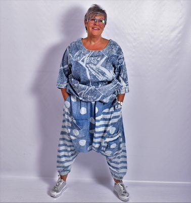 Zouavebroek, La Bass, jeansblauw, zakken op voorpand, rekbare taille,leuke print.