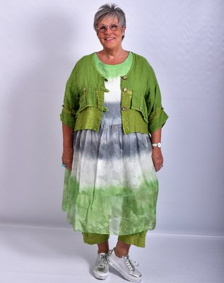 Jurk/tuniek groen/wit, A-lijn, Made in Italy, korte mouw, tie&day