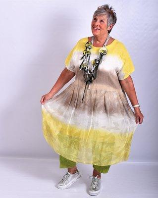 Jurk/tuniek geel/taupe/offwhite, A-lijn, Made in Italy, korte mouw, tie&day, linnen zijde