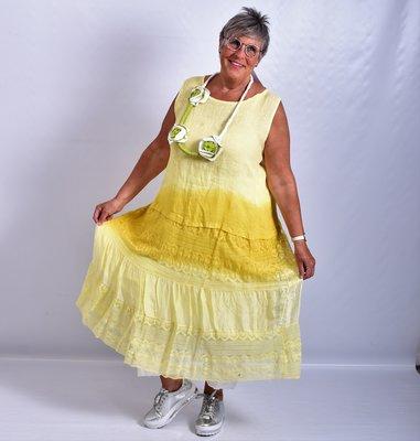 Jurk mouwloos, met stroken, geel, A-lijn, Made in Italy, kant zijde.