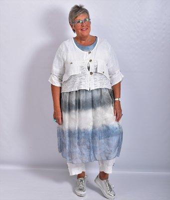Blouse/jasje kort, wit, linnen, met knoopsluiting,v-hals, 7/8 mouw,tweelaags