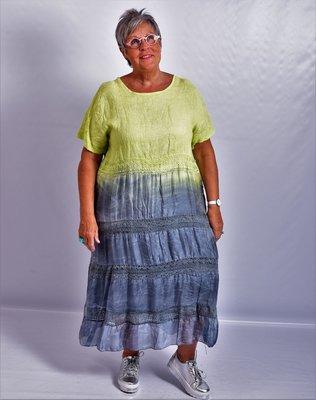 Jurk, limegroen/antraciet, A-lijn, Made in Italy, korte mouw, linnen zijde met kant.
