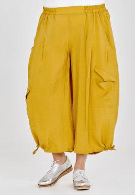 Broek, wijd model, Kekoo, geel, elastische taille, 7/8ste lengte