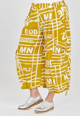 Broek, wijd model, Kekoo, geel met print, elastische taille, 7/8ste lengte