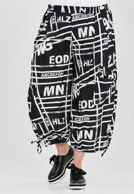 Broek, wijd model, Kekoo, zwart met print , elastische taille, 7/8ste lengte