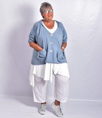Vestje, kort, jeansblauw, knoopsluiting, zakjes met veters, puntmuts met knopen, V-hals,
