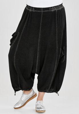 Broek, zouave model, Kekoo, zwart elastische taille, 7/8ste lengte