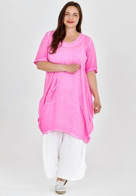 Ballonjurk,tuniek ruimvallend, roze, stone washed, halflange mouw, ronde hals, Kekoo, asymmetrisch.