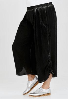 Broek, wijd model, Kekoo, zwart, elastische taille, 7/8ste lengte,ophaaltjes aan de zijkant