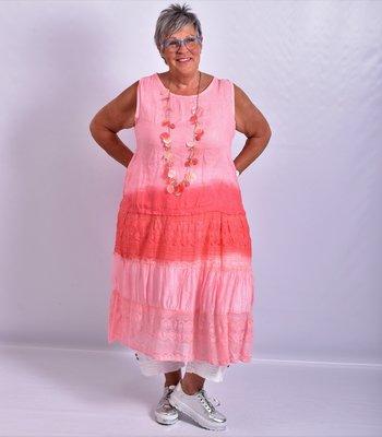 Jurk mouwloos, met stroken, roze, A-lijn, Made in Italy, kant zijde.