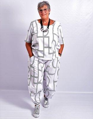 Ballonbroek, Kekoo, wit, met print, elastische taille.