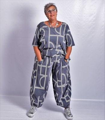 Ballonbroek, Kekoo, grijs, met print, elastische taille.