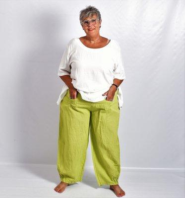 Ballonbroek, lime, linnen, brede rekbare taille, mooie zakken.