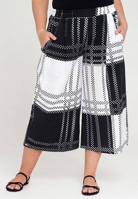 ..Broek, Kekoo, zwart/wit, print, rekbare taille, twee steekzakken, 7/8 lengte