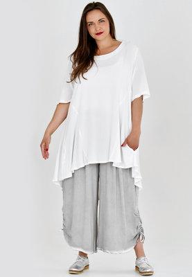 Broek, wijd model, Kekoo, grijs , elastische taille, 7/8ste lengte,ophaaltjes aan de zijkant