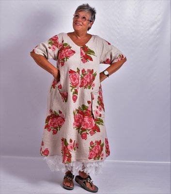 Jurk, zand bloemenprint, 100% linnen, korte mouw, mooie A-lijn, zakken op voorpand, V-hals voor en achter