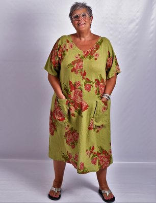 Jurk, kiwi, bloemenprint, 100% linnen, korte mouw, mooie A-lijn, zakken op voorpand, V-hals voor en achter