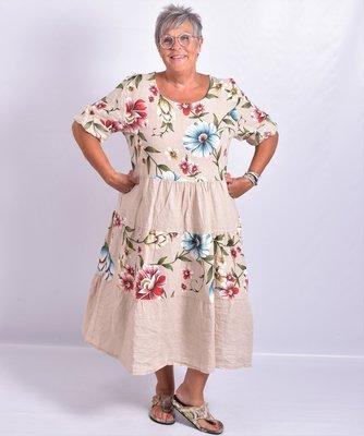 Jurk, Les Freres, beige met bloemenprint, 100% linnen, halflange mouw, stroken vanaf de taille, ronde hals