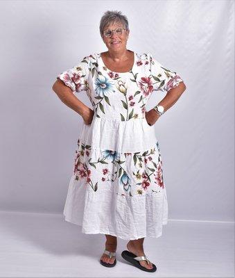 Jurk, Les Freres, wit met bloemenprint, 100% linnen, halflange mouw, stroken vanaf de taille, ronde hals