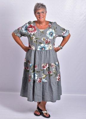 Jurk, Les Freres, grijs met bloemenprint, 100% linnen, halflange mouw, stroken vanaf de taille, ronde hals