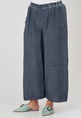 Broek, vaal blauw, wijd model, Kekoo, elastische taille, steekzakken