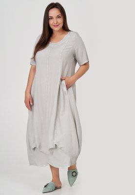 ,,Jurk, ballonmodel, Kekoo, grijs washed out, steekzakken op voorpand, band onderaan de jurk, A-lijn