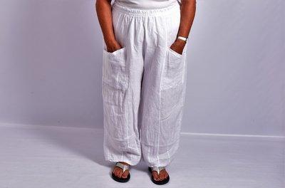 Broek linnen, wit, grote zakken op voorpand, rekbare taille, linnen.