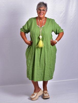 ..urk, groen, halflange mouw, mooie prinssenlijn, 100% linnen, grote A-lijn