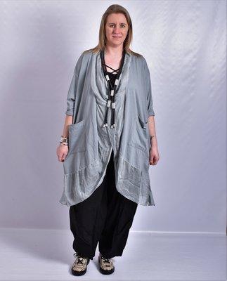 Lange blouse/tuniek, grijs, ronde hals met waterval hals en zakken, Made in Italy