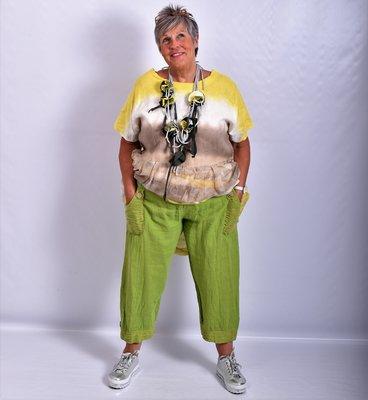 Ballonbroek, lime, linnen, brede rekbare taille, mooie zakken met knoop.