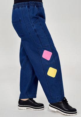 ,,Broek Kekoo jeansstof met print , elastische taille, steekzakken