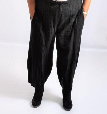 Broek met zwart, veter in elastische taille grove linnen katoen