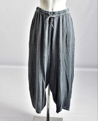 Broek met jeansblauw, veter in rekbare taille grove linnen katoen
