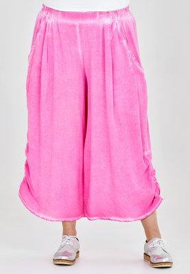 Broek, wijd model, Kekoo, roze , elastische taille, 7/8ste lengte,ophaaltjes aan de zijkant