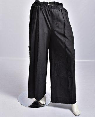 Broek, Kekoo, zwart met print, washed out, rekbare taille,
