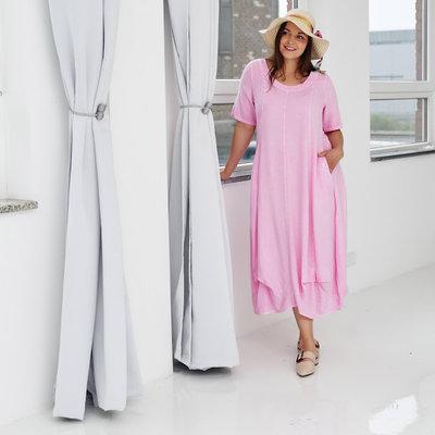 ,,Jurk, ballonmodel, Kekoo, roze washed out, steekzakken op voorpand, band onderaan de jurk, A-lijn