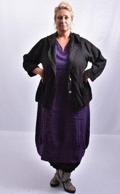 ,,Jasje/ vest, zwart, wijd model, grote A-lijn met knoopsluiting en capuchon