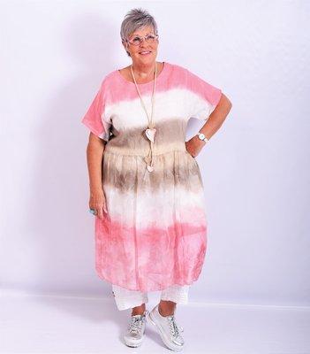 ..Jurk/tuniek koraal/taupe/offwhite, A-lijn, Made in Italy, korte mouw, tie&day, linnen zijde