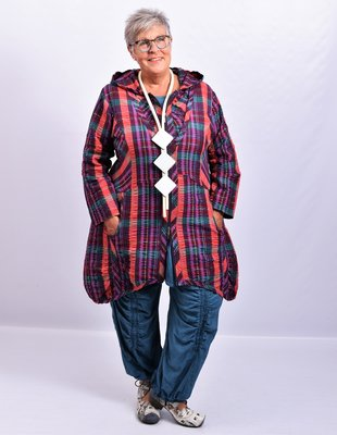 Vest/blouse/jasje  licht paars/ rood/ patrol geruit met, ritssluiting, mooie zakken, lange mouw