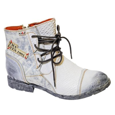 Leuke halfhoge schoen, wit/ grijs met veter en leuke letterprint
