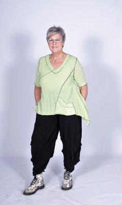 kekoo shirt elastisch groen/zwart korte mouw.