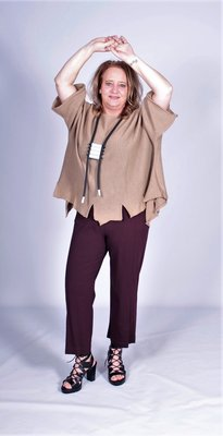 A.part tricot broek paars.