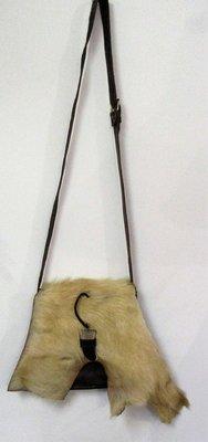 Myrjo naturel bruine kwaliteits- leren tas met tand sluiting en vacht .