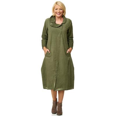 Kekoo armygroene jurk met aparte rolkraag mooie pasvorm washed out.