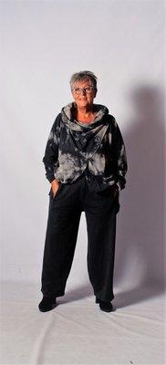 Kekoo broek met rekbare taille antraciet met donker groene gloed